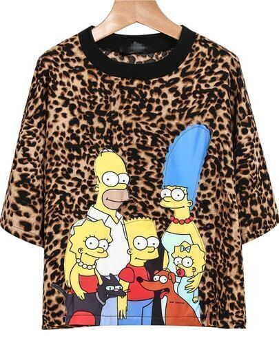 Yellow Short Sleeve Leopard Simpson Print T-Shirt