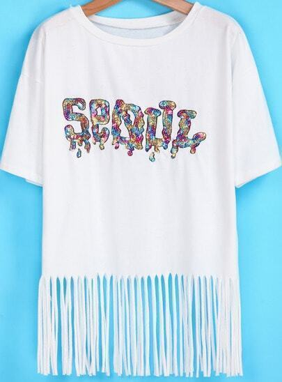 White Short Sleeve Sequined Tassel T-Shirt