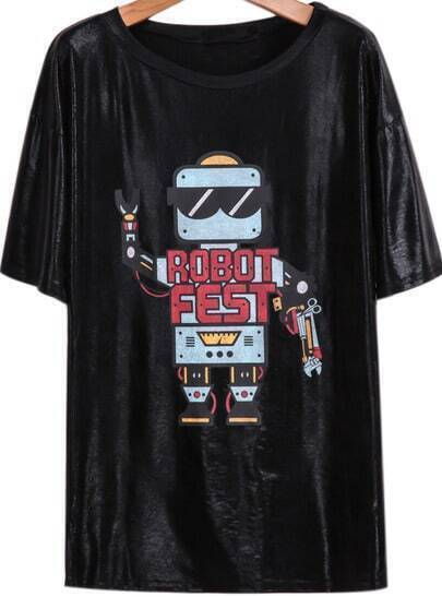 Black Short Sleeve Robot Print Loose T-Shirt