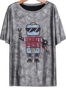 Silver Short Sleeve Robot Print Loose T-Shirt
