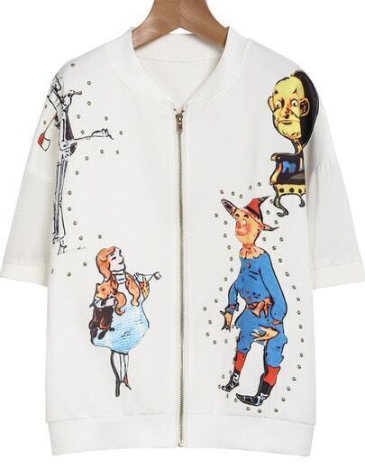 White Short Sleeve Rivet Puppet Print Jacket