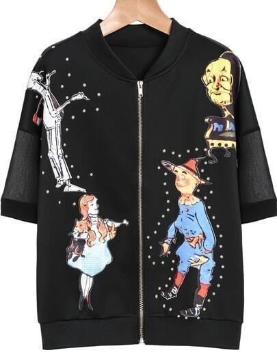 Black Short Sleeve Rivet Puppet Print Jacket