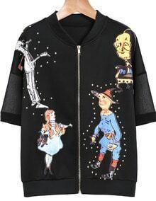 Black Short Sleeve Rivet Puppet Print Jacket