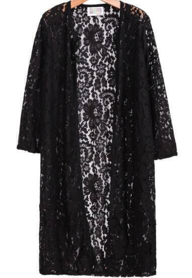 Black Long Sleeve Floral Crochet Lace Outerwear