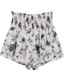 White Elastic Waist Floral Chiffon Shorts