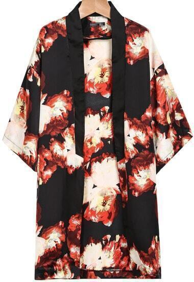 Red Half Sleeve Floral Loose Chiffon Kimono