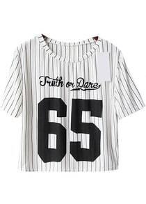 White Short Sleeve Vertical Stripe 65 Print T-Shirt