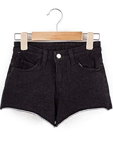 Black Pockets Elastic Denim Shorts