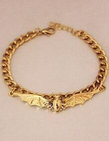Gold Bat Chain Link Bracelet