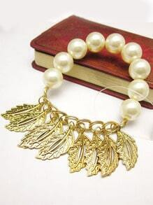 Gold Leaves Bead Bracelet