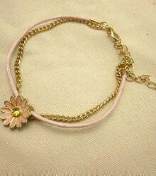 Pink Glaze Gold Flower Chain Bracelet