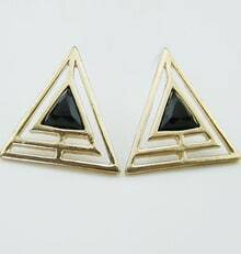 Black Gemstone Gold Hollow Triangle Earrings
