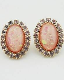 Pink Gemstone Gold Diamond Oval Earrings