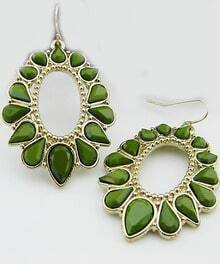 Green Drop Gemstone Gold Dangle Earrings
