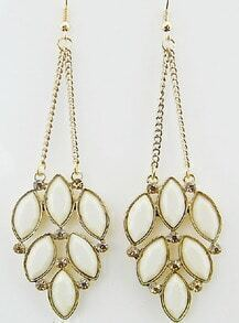 White Gemstone Gold Chain Earrings