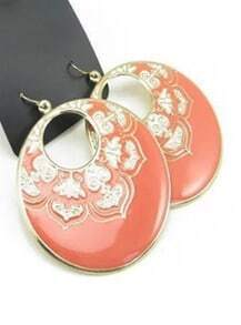 Orange Glaze Gold Dangle Earrings