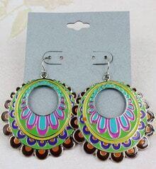 Green Glaze Silver Hollow Dangle Earrings