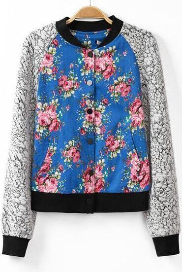 Blue Long Sleeve Floral Pockets Jacket