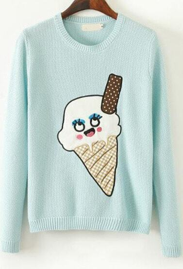 Mint Green Long Sleeve Ice Cream Print Sweater