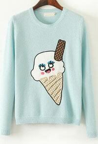 Mint Green Long Sleeve Ice Cream Print Sweater