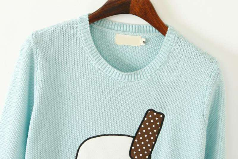 Mint Green Long Sleeve Ice Cream Print Sweater -SheIn(Sheinside)