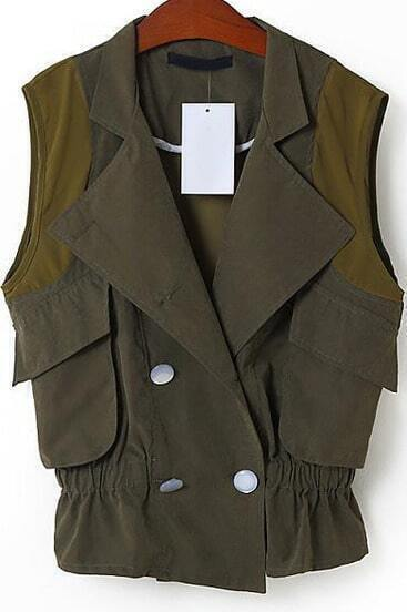Green Lapel Sleeveless Pockets Chiffon Vest