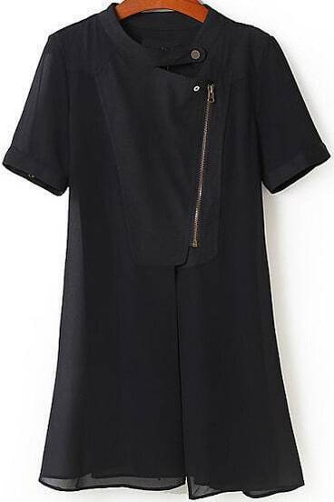Black Stand Collar Short Sleeve Zipper Outerwear