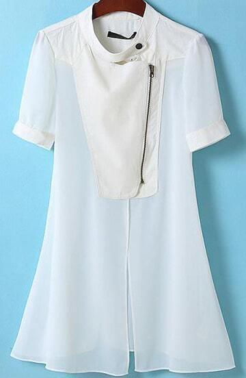 White Stand Collar Short Sleeve Zipper Outerwear