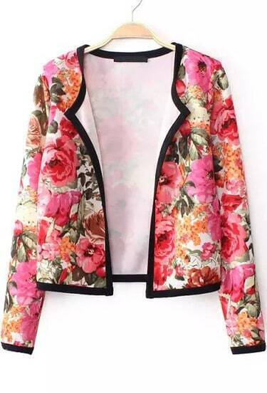Red Long Sleeve Contrast Trims Floral Crop Outerwear