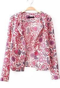 Red Long Sleeve Floral Crop Outerwear