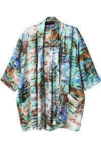 Green Half Sleeve Vintage Floral Loose Outerwear