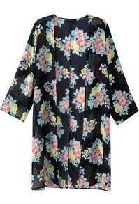 Black Long Sleeve Floral Loose Chiffon Outerwear