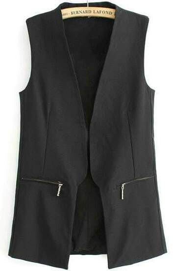 Black Sleeveless Zipper Pockets Outerwear