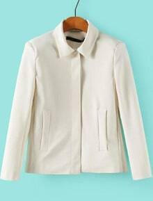 White Lapel Long Sleeve Pockets Outerwear