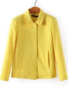 Yellow Lapel Long Sleeve Pockets Outerwear