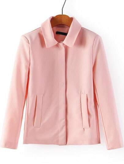 Pink Lapel Long Sleeve Pockets Outerwear