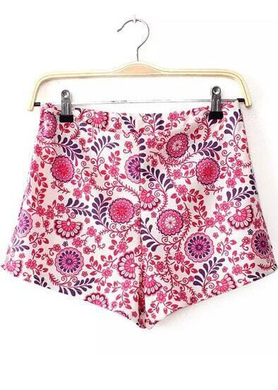 Red Floral Straight Shorts