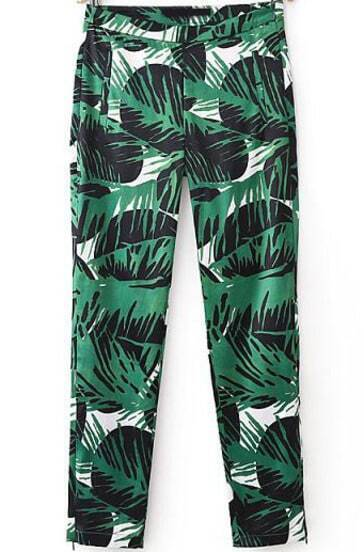 Green Leaves Print Slim Pant