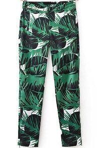Green Leaves Print Slim Pant