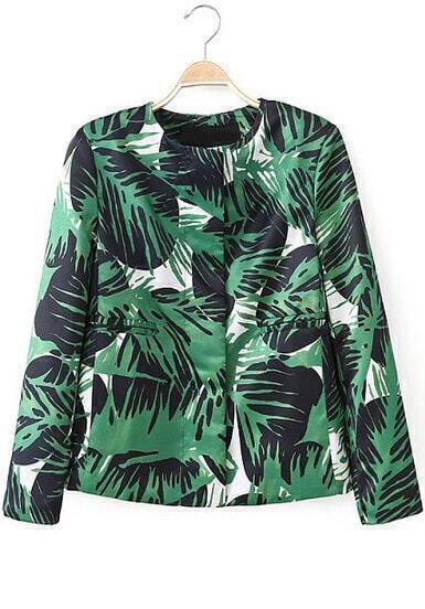 Green Long Sleeve Leaves Print Pockets Blazer