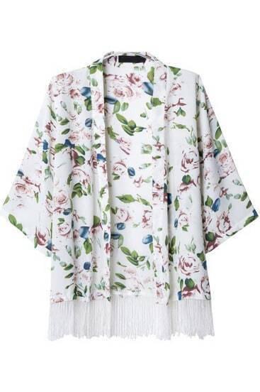 White Half Sleeve Floral Tassel Kimono