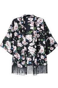 Black Half Sleeve Floral Tassel Kimono