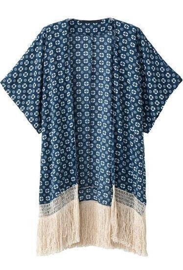 Navy Short Sleeve Floral Tassel Loose Kimono