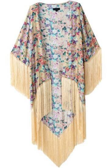 Apricot Long Sleeve Floral Tassel Long Kimono