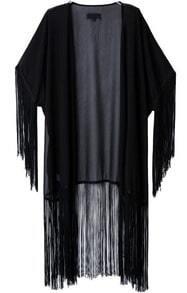 Black Long Sleeve Tassel Long Kimono
