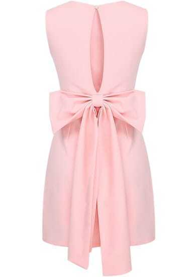 Pink Sleeveless Backless Bow Bodycon Dress