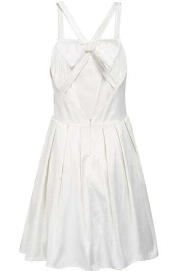 White Criss Cross Back Backless Bow Pleated Dress