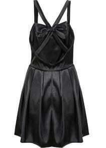 Black Criss Cross Back Backless Bow Pleated Dress