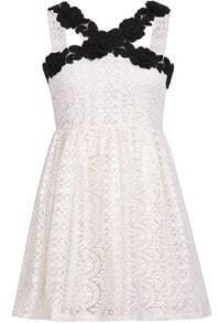 White Spaghetti Strap Floral Crochet Lace Dress