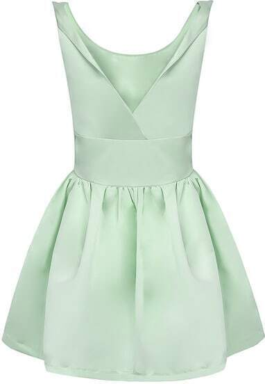 Green Sleeveless Backless Flare Dress